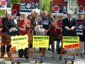 Protestaktion gegen Parteisponsoring 2010