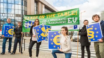 Aktion im April 2018 in Brüssel