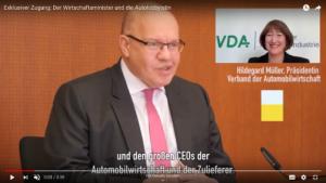 Altmaier wirbt auf Youtube für seine gute Zusammenarbeit mit der Autolobby, Foto: Screenshot Youtube