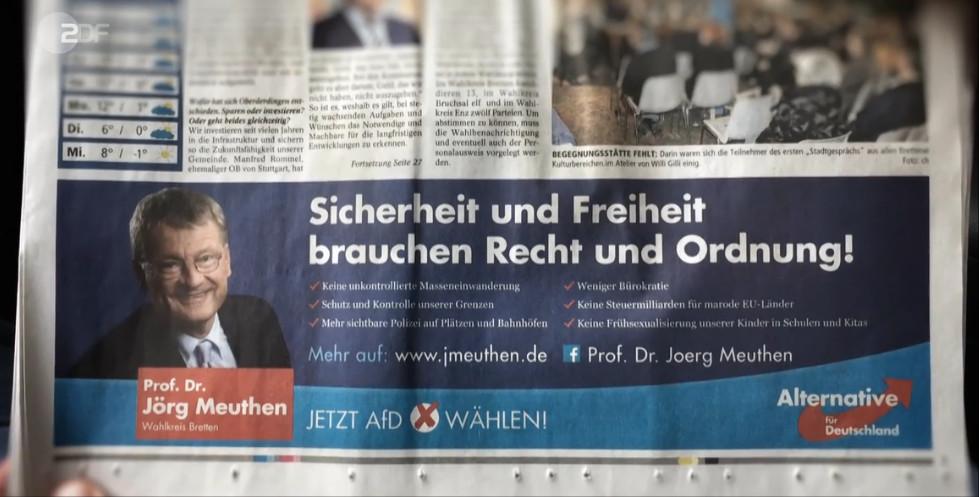 Anzeige der Goal AG für Jörg Meuthen, Frontal21 vom 29.8.2017