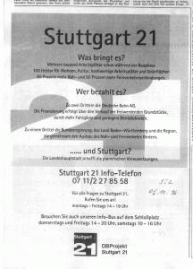 Anzeige Stuttgart21, Stuttgarter Zeitung vom 6.11.1996