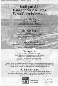 Anzeige für das S21-Infotelefon, Stuttgarter Zeitung, 18.10.1996