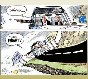 Titelcartoon der Studie: Fahrer, bieg rechts ab!