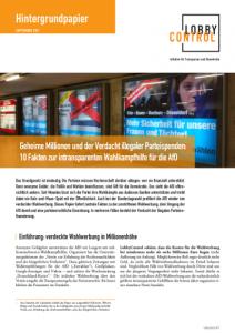Cover Hintergrundpapier zur intransparenten Wahlkampfhilfe für die AfD, Sep. 2017