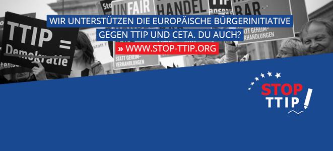 Banner für EBI gegen TTIP und CETA