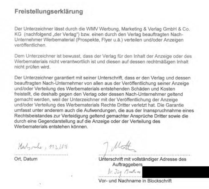 Freistellungserklärung von Meuthen für Anzeigen der Goal AG.