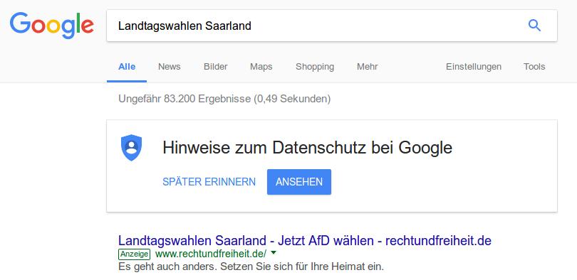 Google-Anzeige zugunsten der AfD im Saarland, Screenshot vom 14. März 2017