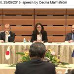 Handelskommissarin Malmström beim EU-Japan Gipfel in Tokio 2015.