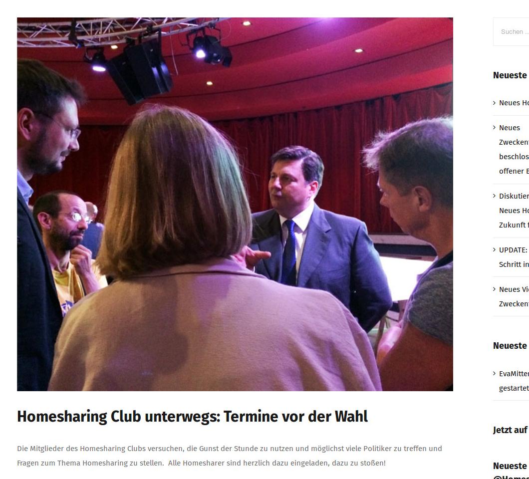 Homesharing ClubBerlin Gespräche mit Politikern vor der Wahl, Sept 2016 (Screenshot von Mai 2018)