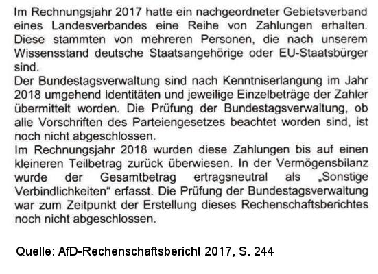 Auszug aus AfD-Rechenschaftsbericht 201 zu Weidel-Spenden, S. 244
