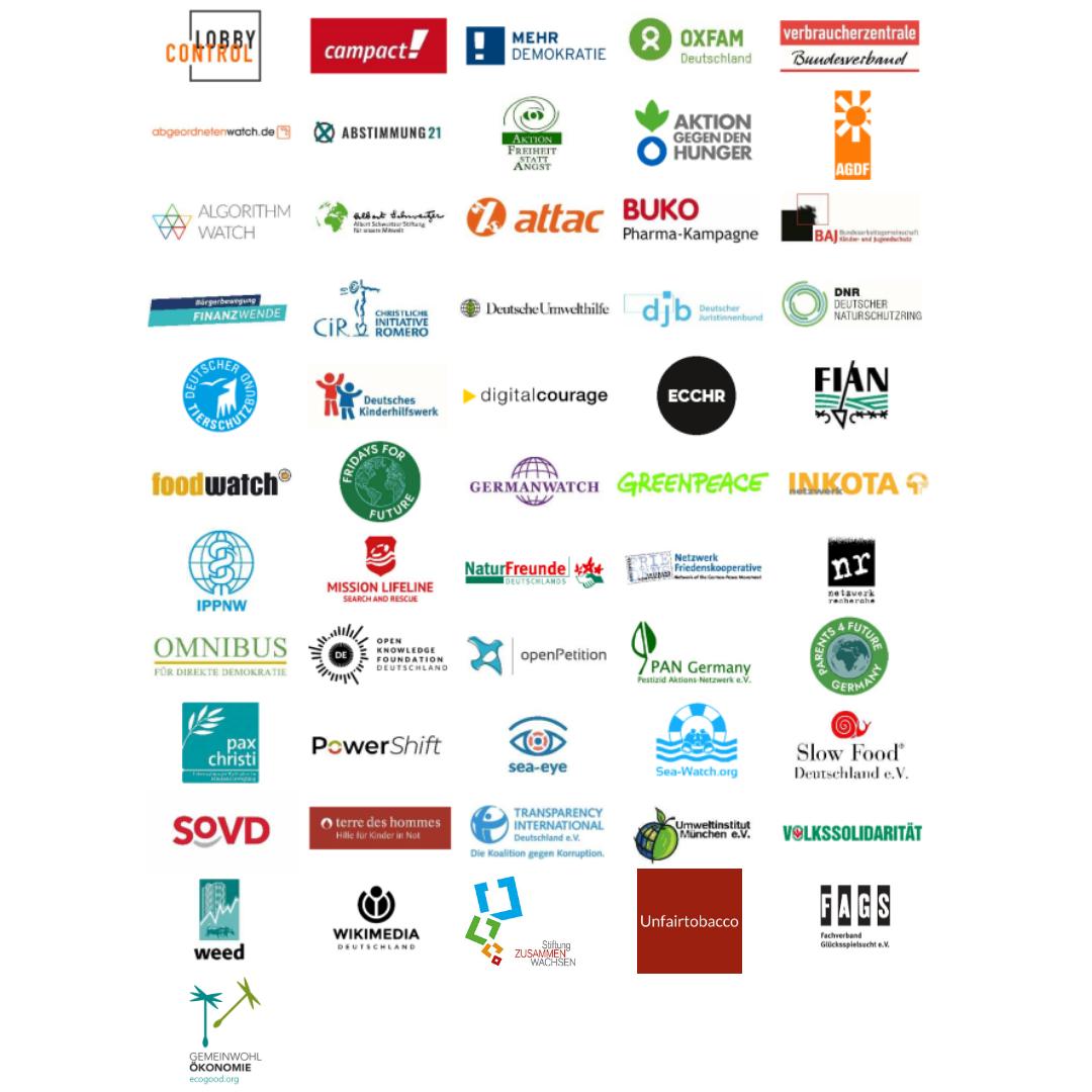 Logos von über 50 zivilgesellschaftlichen Organisationen, die gemeinsam fordern: Gemeinwohl stärken, Lobbytransparenz schaffen