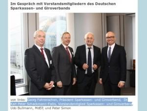 Simon und Bullmann (SPD) mit Vertretern des Sparkassenverbands DSGV