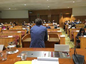 Das Bild zeigt den Saal im slowenischen Parlament, in dem unsere Veranstaltung stattgefunden hat.