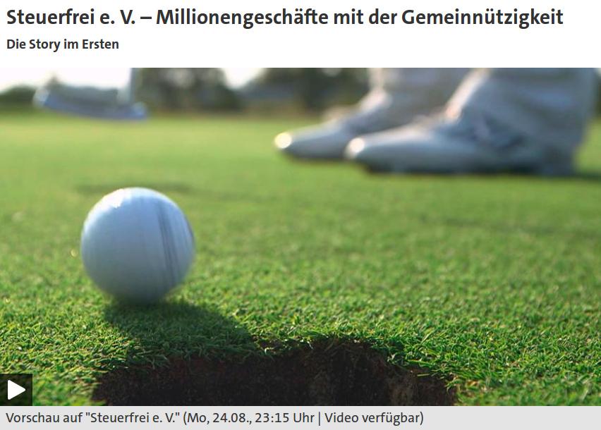Das Bild zeigt einen Screenshot der ARD-Homepage zum Beitrag von Sascha Adamek und Martin Hahn.