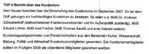 Screenshot des Protokolls der Mitgliederversammlung von 2007 zum Top: Bericht über das Kruatorium