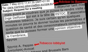 Ein Beleg für die zahlreichen Treffen zwischen EU-Generaldirektion und Tabaklobbyisten. Quelle: Corporate Europe Observatory