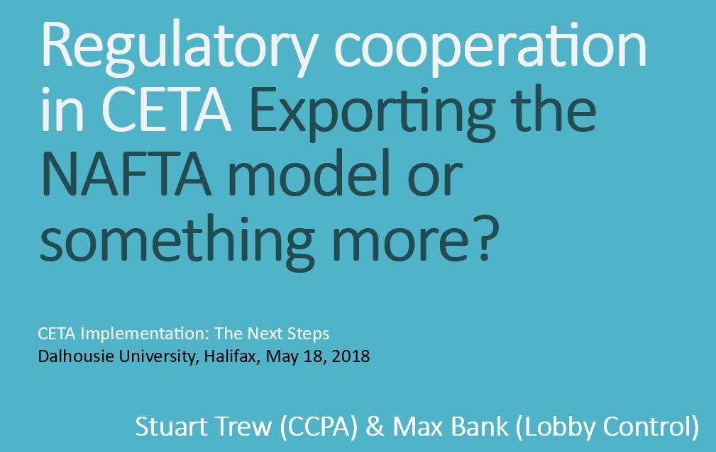 Unser Vortrag vergleicht die nordamerikanische Erfahrung mit regulatorischer Kooperation mit den Festlegungen in CETA.