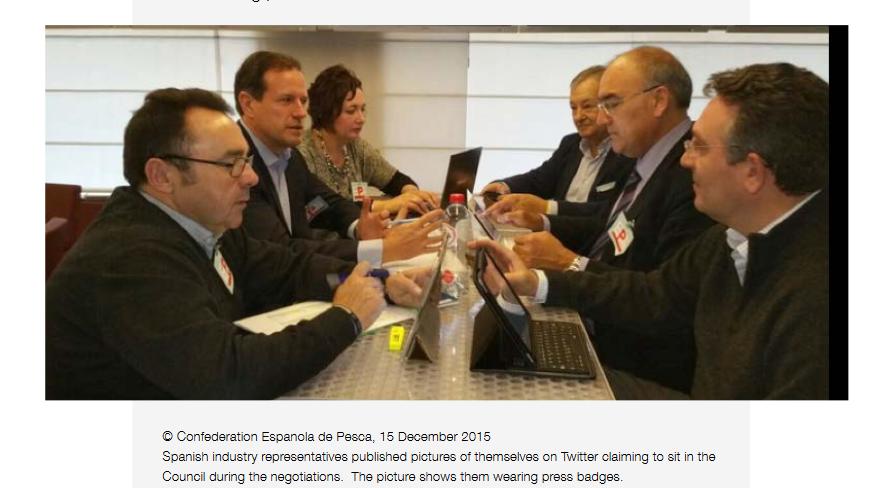 Der Verband der spanischen Fischindustrie brüstete sich 2015 auf Twitter damit, dass er bei den Ratsverhandlungen über die Fangquoten dabei sein durfte.