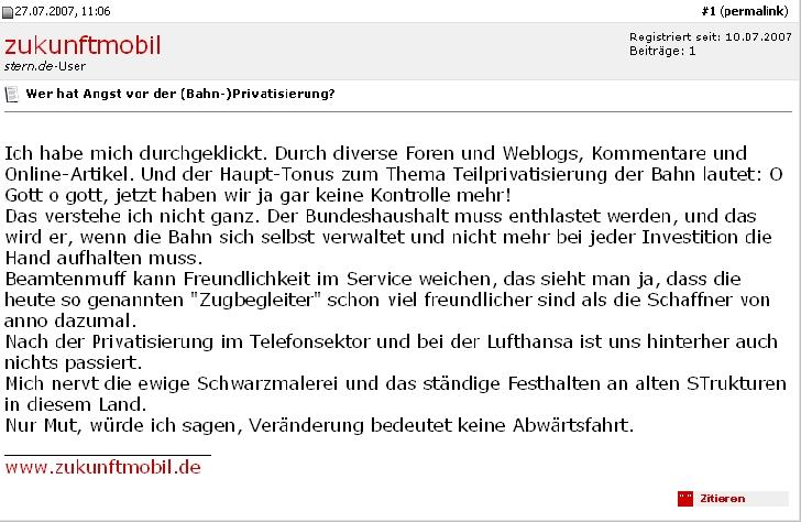 Verdeckte Bahn-PR in einem Stern-Forum 2007, Screenshot von Mai 2009