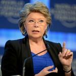 Viviane Reding bei einer Podiumsdiskussion auf dem Weltwirtschaftsforum