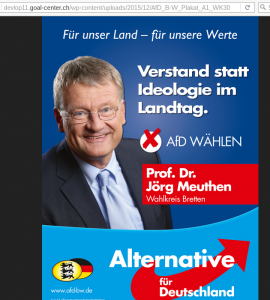 Wahlplakat für Meuthen auf dem Entwicklungsserver der Goal AG