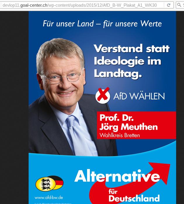 Wahlplakat fürMeuthen auf Server der Goal-AG, Dez 2015
