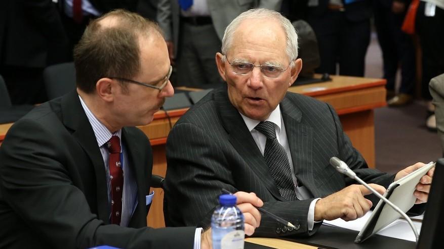 Finanzminister Schäuble beim Sondertreffen der Eurogruppe am 9. Mai 2016 in Brüssel.