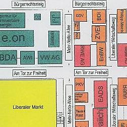Ausschnitt Lageplan beim FDP Bundesparteitag 2009; Vollansicht mit Klick aufs Bild