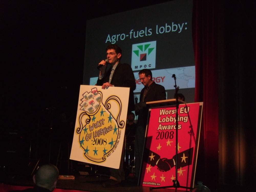 Foto der Verleihung des Worst EU Lobbying Awards