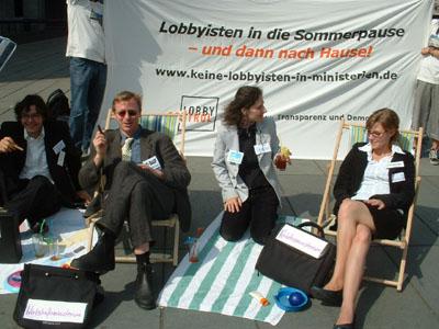 Foto2 von der Aktion Keine Lobbyisten in Ministerien am 26. Juli 2007