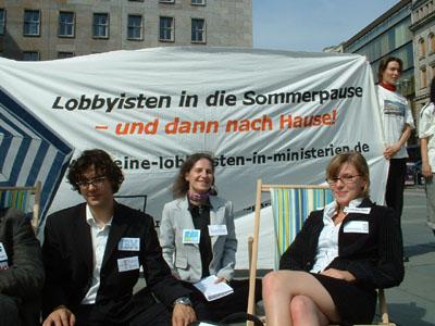 Foto5 von der Aktion Keine Lobbyisten in Ministerien am 26. Juli 2007