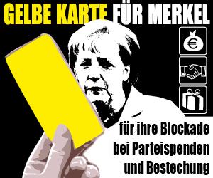 Aktionsbanner: Gelbe Karte für Frau Merkel