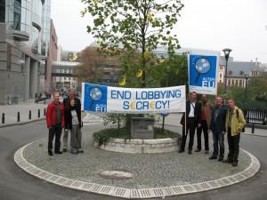 ALTER-EU-Aktion vor dem Europaparlament, Oktober 2007