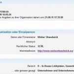Weber Shandwick im EU-Register fälschlicherweise als Unternehmen eingetragen